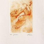 * 1016-Gravure,estampe musique :  Jacques au violoncelle, le doyen du groupe,