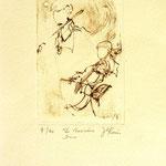 *1039-Gravure,estampe musique :  Le duo , violoncelle et violon