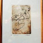 Gravure,estampe musique : * 1010- Jacques au violoncelle, le doyen du groupe,