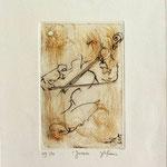 * 1014-Gravure,estampe musique :  Jacques au violoncelle, le doyen du groupe,