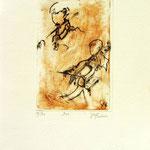 *1047-Gravure,estampe musique :  Le duo , violoncelle et violon