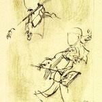 *1036-Gravure,estampe musique :  Le duo , violoncelle et violon
