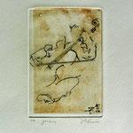 * 1022-Gravure,estampe musique :  Jacques au violoncelle, le doyen du groupe,