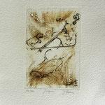 * 1023-Gravure,estampe musique :  Jacques au violoncelle, le doyen du groupe,