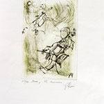 *1034-Gravure,estampe musique :  Le duo , violoncelle et violon