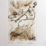* 1029-Gravure,estampe musique :  Jacques au violoncelle, le doyen du groupe,