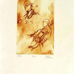 *1049-Gravure,estampe musique :  Le duo , violoncelle et violon