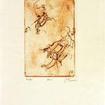 *1051-Gravure,estampe musique :  Le duo , violoncelle et violon
