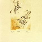 *1045-Gravure,estampe musique :  Le duo , violoncelle et violon