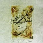 * 1025-Gravure,estampe musique :  Jacques au violoncelle, le doyen du groupe,