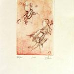 *1053-Gravure,estampe musique :  Le duo , violoncelle et violon