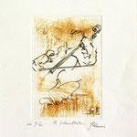 Gravure,estampe musique : * 1013- Jacques au violoncelle, le doyen du groupe,
