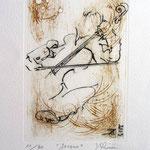 * 1028-Gravure,estampe musique :  Jacques au violoncelle, le doyen du groupe,