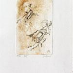 *1057-Gravure,estampe musique :  Le duo , violoncelle et violon