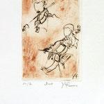 *1038-Gravure,estampe musique :  Le duo , violoncelle et violon