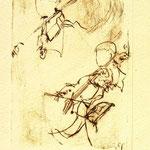*1037-Gravure,estampe musique :  Le duo , violoncelle et violon