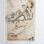 * 1027-Gravure,estampe musique :  Jacques au violoncelle, le doyen du groupe,