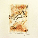 * 1018-Gravure,estampe musique :  Jacques au violoncelle, le doyen du groupe,