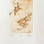 *1052-Gravure,estampe musique :  Le duo , violoncelle et violon