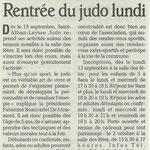 31 août 2010 - Le Dauphiné Libéré - Rentrée du judo lundi