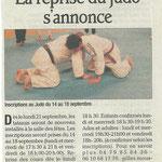 07 septembre 2009 - Le Dauphiné Libéré - La reprise du judo s'annonce