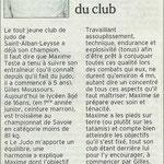 01 mars 2009 - Le Dauphiné Libéré - Maxime Teste judoka 1er médaillé du club