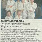 31 mars 2010 - Le Dauphiné Libéré - Les jeunes judokas sont allés à Ugine ce week-end