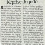 09 septembre 2011 - Le Dauphiné Libéré - Reprise du judo