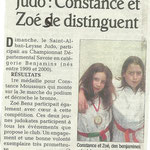 27 janvier 2011 - Le Dauphiné Libéré - Judo : Constance et Zoé