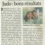 24 novembre 2010 - Le Dauphiné Libéré - Judo : bons résultats