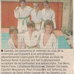 25 octobre 2011 - Le Dauphiné Libéré - Les judokas s'illustrent à Buisson-Rond