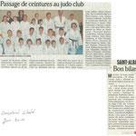 01 juin 2010 - Le Dauphiné Libéré - Passage de ceintures au judo club
