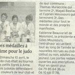 12 avril 2011 - Le Dauphiné Libéré - Des médailles à Aime pour le judo
