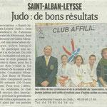 21 novembre 2009 - Le Dauphiné Libéré - Judo : de bons résultats