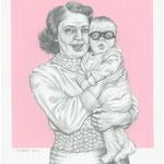 Zeichnung 482 Der maskierte Rächer (frühen Jahre ) 2014,Graphit/ Acryl auf Karton   30 x 40 cm