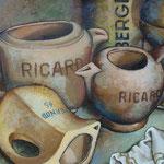Gemälde 209  Karaffen an gold. Kugeln  Acryl auf Leinw.,2007, 51,5 x 33,5 cm