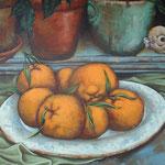 Gemälde 270  Orangen an Blumentöpfen ,Acryl auf Leinw.,2008,  37 x 40 cm