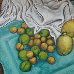 Gemälde 269  Pflaumen u. Zitronen in blau, Acryl auf Leinw.,2008,  36 x 45 cm