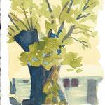 Kastanienbaum in Tessin, Aquarell 19x22,5 cm