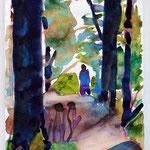 im Auenwald, Aquarell 16,5x24 cm