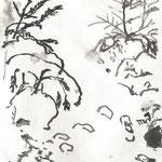 warmer Schnee, Tinte 15x21 cm (doppelseitig)