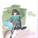 sonnige Rast, Aquarell 11,3x14 cm, verkauft