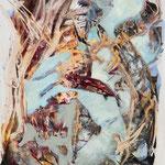o.T., 2016, Acryl auf Holz auf Kreidegrund - Winkelschleifer, 100 x 80 cm