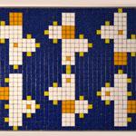 """""""66 boxes"""" parte X, mosaico in pasta vitrea a legante epossidico, 37x28x1 cm, 2016"""