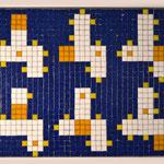 """""""66 boxes"""" parte I , mosaico in pasta vitrea a legante epossidico, 37x28x1 cm, 2016"""
