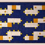 """""""66 boxes"""" parte VI, mosaico in pasta vitrea a legante epossidico, 37x28x1 cm, 2016"""