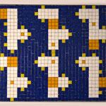 """66 boxes"" parte IV, mosaico in pasta vitrea a legante epossidico, 37x28x1 cm, 2016"