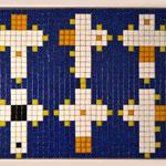 """""""66 boxes"""" parte V, mosaico in pasta vitrea a legante epossidico, 37x28x1 cm, 2016"""