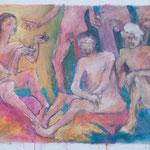 """""""Männergespräche am FKK Prendener See"""", 1998, Acryl, 77 x 59"""