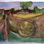 """""""Netz am Achterwasser"""", Aquarell, Mischtechnik, 2003"""